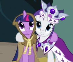 Size: 1280x1080 | Tagged: safe, screencap, clover the clever, princess platinum, rarity, twilight sparkle, pony, unicorn, hearth's warming eve (episode), cropped, duo, female, mare, smiling, unicorn twilight