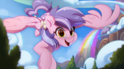 Size: 2500x1406 | Tagged: artist:light262, blushing, bow, cheek fluff, cloud, ear fluff, female, flying, gift art, hair bow, happy, leg fluff, looking at you, mare, mountain, oc, oc only, open mouth, pegasus, pony, rainbow, safe, scenery, signature, sky, smiling, solo, spread wings, tail bow, tree, wings
