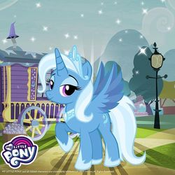 Size: 640x640 | Tagged: safe, trixie, alicorn, pony, idw, reflections, spoiler:comic, alicornified, female, gameloft, idw showified, princess of humility, race swap, solo, streetlight, trixie's wagon, trixiecorn