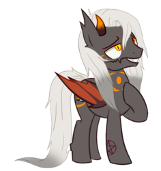 Size: 1145x1214 | Tagged: artist:ashakalovsky, artist:tortured-smile0w0, base used, bat wings, commission, demon, demon pony, grin, male, markings, oc, oc:balan, oc only, original species, pentagram, pony, raised hoof, safe, simple background, smiling, solo, stallion, tattoo, transparent background, wings