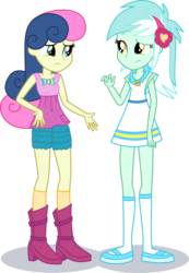 Size: 1964x2845 | Tagged: accessories, artist:phucknuckl, belt, bon bon, boots, bow, bowtie, closed mouth, clothes, clothes swap, cutie mark, cutie mark clothes, dress, edit, equestria girls, female, headband, jewelry, looking at each other, lyra heartstrings, necklace, pants, pocket, safe, shadow, shirt, shoes, shorts, simple background, socks, standing, standing up, sweetie drops, top, transparent background, vector, vector edit, woman