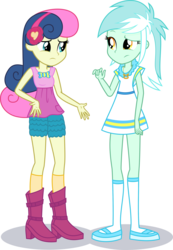 Size: 1964x2845 | Tagged: accessories, accessory swap, artist:phucknuckl, belt, bon bon, boots, bow, bowtie, closed mouth, clothes, clothes swap, cutie mark, cutie mark clothes, dress, edit, equestria girls, female, headband, jewelry, looking at each other, lyra heartstrings, necklace, pants, pocket, safe, shadow, shirt, shoes, shorts, simple background, socks, standing, standing up, sweetie drops, top, transparent background, vector, vector edit, woman