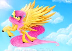 Size: 4960x3507   Tagged: safe, artist:victoria-luna, fluttershy, bird, hummingbird, pony, cloud, flying