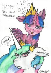 Size: 1624x2328 | Tagged: safe, artist:victoria-luna, princess celestia, twilight sparkle, alicorn, pony, angry, blushing, cheek fluff, crown, drunk, drunk bubbles, drunk twilight, ear fluff, jewelry, new year, ponies riding ponies, regalia, riding, tongue out, traditional art, twilight riding celestia, twilight sparkle (alicorn), unamused