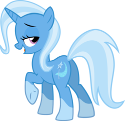 Size: 2310x2231 | Tagged: artist:the smiling pony, butt, edit, editor:slayerbvc, female, lidded eyes, looking back, mare, plot, pony, raised hoof, safe, simple background, socks (coat marking), solo, transparent background, trixie, underhoof, unicorn, vector, vector edit
