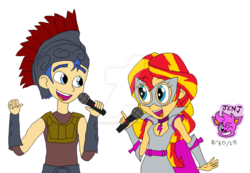 Size: 1024x708 | Tagged: safe, artist:resotii, flash sentry, sunset shimmer, equestria girls, clothes, cosplay, costume, female, flashimmer, male, shipping, singing, straight