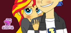 Size: 1024x478 | Tagged: safe, artist:resotii, flash sentry, sunset shimmer, equestria girls, blushing, female, flashimmer, male, shipping, straight