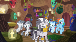 Size: 5336x3000 | Tagged: safe, artist:velveagicsentryyt, rainbow dash, zecora, oc, oc:dawnna, oc:prisdale, oc:soleilt, hybrid, pegasus, pony, zony, offspring, older, parent:rainbow dash, parent:royal guard, parent:soarin', parent:zecora, parents:guardcora, parents:soarindash, zecora's hut