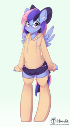 Size: 1066x1915 | Tagged: artist:hoodie, bipedal, bow, clothes, hoodie, oc, oc only, oc:wind of the skies, safe, semi-anthro, shorts, socks, solo