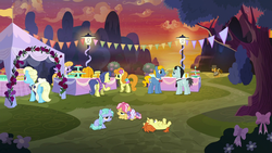 Size: 1920x1080 | Tagged: safe, screencap, boneless, boneless 2, bruce mane, carrot top, cheese sandwich, cloud kicker, drizzle, eclair créme, golden harvest, indian summer, jangles, kettle corn, lilac ice, masquerade, perfect pace, earth pony, pegasus, pony, unicorn, the last laugh, spoiler:s09e14, background pony, bored, butt, cake, cupcake, dessert, discovery family logo, female, filly, foal, food, lamp, lamppost, male, mare, party, plot, punch (drink), punch bowl, stallion, sunset, technically an upskirt shot, tent, the master, the pony with no name