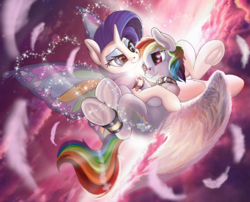 Size: 1280x1032 | Tagged: safe, artist:manifest harmony, rainbow dash, rarity, pegasus, pony, unicorn, fanfic:clocktower society, ankle cuffs, bdsm, bondage, butterfly wings, collar, cuffs, female, frog (hoof), heart eyes, heart nostrils, hug, lesbian, looking at each other, mare, pet play, raridash, romantic, shipping, underhoof, wingding eyes, wings
