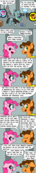 Size: 750x3600 | Tagged: artist:bjdazzle, book, box, breaking the fourth wall, brothers, cheese sandwich, coincidence, comic, conveyor belt, counterparts, dialogue, earth pony, factory, female, gag factory, gaster blaster, headcanon, implied limestone pie, implied marble pie, implied maud pie, looking at you, male, mare, pinkie pie, pinkie pie is not amused, pony, rambling, safe, sans smirk, sans (undertale), season 9 retirement party, siblings, sock, spoiler:s09e14, stallion, stop sign, sweat, sweatdrop, telescope, the last laugh, unamused, undertale