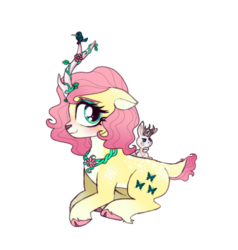 Size: 1014x1067 | Tagged: safe, artist:unoriginai, angel bunny, fluttershy, deer, hummingbird, hybrid, jackalope, pony, unicorn, leak, spoiler:g5, cute, duo, fluttershy (g5), g5, unicorn fluttershy