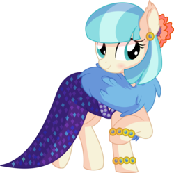 Size: 6618x6582 | Tagged: safe, artist:cyanlightning, coco pommel, earth pony, pony, viva las pegasus, .svg available, absurd resolution, blushing, bracelet, clothes, cocobetes, cute, dress, ear fluff, ear piercing, female, impossibly rich, jewelry, mare, piercing, simple background, smiling, solo, transparent background, vector