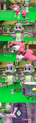 Size: 1920x6480 | Tagged: 3d, artist:papadragon69, carousel boutique, choose your own adventure, comic, comic:spike's cyosa, dragon, fourth wall, knocking, older, older spike, pinkie pie, safe, source filmmaker, spike, teenager, teenage spike, winged spike