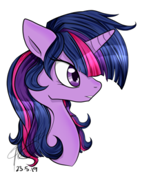 Size: 700x800 | Tagged: alternate hairstyle, artist:emptyfaze, bust, female, floppy ears, mare, pony, safe, simple background, solo, transparent background, twilight sparkle