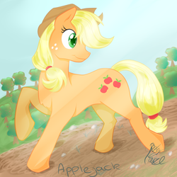 Size: 1200x1200 | Tagged: applejack, apple tree, artist:emptyfaze, crepuscular rays, cutie mark, earth pony, female, head turn, mare, orchard, pony, raised hoof, safe, smiling, solo, tree