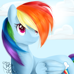 Size: 1000x1000 | Tagged: artist:emptyfaze, cloud, cutie mark, female, hair over one eye, mare, pegasus, pony, rainbow dash, safe, solo