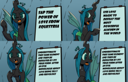 Size: 2133x1366 | Tagged: safe, artist:pony-berserker edits, edit, queen chrysalis, changeling, changeling queen, a canterlot wedding, chrysalis' plan, comic, despicable me, didn't think this through, fangs, female, gru's plan, irony, meme, open mouth, solo, you had one job