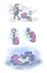 Size: 1650x2539 | Tagged: safe, artist:helixjack, princess luna, oc, oc:mew, alicorn, pony, anthro, digitigrade anthro, anthro ponidox, anthro with ponies, boots, canon x oc, clothes, cuddling, ethereal mane, eyes closed, female, hat, high heel boots, latex, latex boots, leash, mare, pet play, pony pet, scarf, shoes, starry mane, sun hat