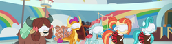 Size: 2821x720 | Tagged: safe, edit, screencap, lighthoof, ocellus, shimmy shake, smolder, yona, changedling, changeling, dragon, earth pony, pony, yak, 2 4 6 greaaat, blindfold, context is for the weak, female, panorama, school of friendship