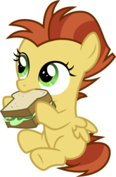 Size: 3000x4544 | Tagged: safe, artist:sollace, lemon crumble, pegasus, pony, between dark and dawn, .svg available, colt, cute, cuteness overload, eating, food, friendship student, hnnng, hyper sonic, looking at someone, male, sandwich, sitting, solo, transparent background, vector