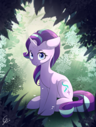 Size: 1500x2000 | Tagged: safe, artist:laptop-pone, starlight glimmer, pony, unicorn, cute, female, floppy ears, glimmerbetes, looking at you, mare, sitting, smiling, solo