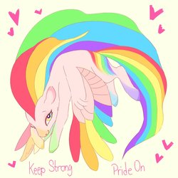 Size: 1280x1280 | Tagged: safe, artist:creeate97, oc, oc only, pegasus, pony, colored hooves, heart, pegasus oc, pride month, rainbow hair, solo, wings