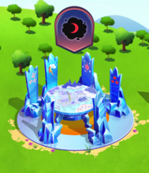 Size: 428x498 | Tagged: crescent moon, cutie map, friendship throne, gameloft, limited-time story, moon, pony, safe, the anonymous campsite