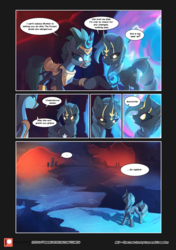 Size: 3541x5016 | Tagged: safe, artist:freeedon, artist:lummh, oc, oc:appolonia, oc:aurora, oc:selendis, dragon, pony, unicorn, comic:the lost sun, collaboration, comic, female, glowing horn, horn, mare, palindrome get, patreon, patreon logo, speech bubble