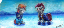 Size: 1600x703 | Tagged: artist:sa1ntmax, clothes, commission, earth pony, female, freezing, frozen, male, oc, oc:khaki-cap, oc:zjin-wolfwalker, pony, punch card, quadrupedal, safe, snow, stallion, traditional art, zebra, zebra oc