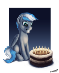 Size: 1199x1500 | Tagged: artist:sa1ntmax, birthday cake, cake, candle, commission, food, happy, happy birthday, male, oc, oc:cloud zapper, pegasus, pony, safe, simple background, smiley face, solo, transparent background