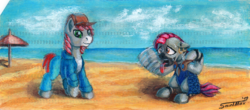 Size: 1600x706 | Tagged: artist:sa1ntmax, beach, clothes, cloud, commission, ear piercing, earring, earth pony, female, heat, jewelry, male, oc, ocean, oc:khaki-cap, oc only, oc:zjin, oc:zjin-wolfwalker, open mouth, overheated, piercing, pony, punch card, quadrupedal, safe, sand, stallion, sweat, tongue out, wet mane, zebra