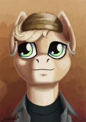 Size: 1134x1600 | Tagged: artist:sa1ntmax, bust, cap, clothes, commission, ear piercing, earring, earth pony, freckles, hat, jewelry, looking at something, looking away, male, oc, oc only, piercing, pony, portrait, safe, smiley face, solo