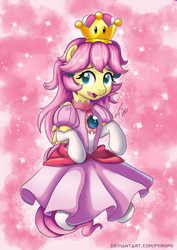 Size: 636x900 | Tagged: safe, artist:pyropk, fluttershy, pegasus, pony, adorable face, alternate hairstyle, clothes, cosplay, costume, crown, cute, dress, female, flutterpeach, gloves, jewelry, long gloves, looking at you, looking sideways, mare, open mouth, pink dress, princess peach, regalia, shyabetes, skirt, socks, solo, sparkles, stockings, super mario bros., thigh highs, three quarter view, wavy mouth, white socks, white stockings