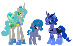 Size: 1067x674 | Tagged: safe, artist:g0ldentoothpick, princess luna, queen chrysalis, changeling, changeling queen, changepony, hybrid, chrysaluna, family, female, interspecies offspring, lesbian, magical lesbian spawn, offspring, parent:princess luna, parent:queen chrysalis, parents:chrysaluna, reversalis, shipping