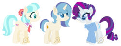 Size: 1118x424 | Tagged: safe, artist:g0ldentoothpick, coco pommel, rarity, pony, family, female, lesbian, magical lesbian spawn, marshmallow coco, offspring, parent:coco pommel, parent:rarity, parents:marshmallow coco, shipping