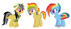 Size: 1083x441 | Tagged: artist:g0ldentoothpick, daringdash, daring do, family, female, lesbian, parents:daringdash, pony, rainbow dash, safe, shipping