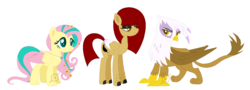 Size: 1443x519 | Tagged: artist:g0ldentoothpick, family, female, fluttershy, gilda, gildashy, griffon, hippogriff, hybrid, interspecies offspring, lesbian, magical lesbian spawn, offspring, parent:fluttershy, parent:gilda, parents:gildashy, safe, shipping