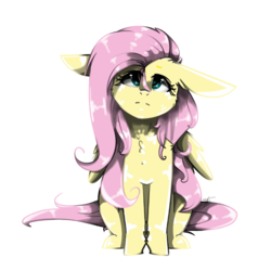 Size: 3000x3000 | Tagged: artist:55xxglai-s-z-s-exx55, big ears, chest fluff, female, floppy ears, fluttershy, full face view, head tilt, lidded eyes, looking at you, looking up, mare, pegasus, pony, safe, simple background, sitting, solo, stray strand, transparent background, wings