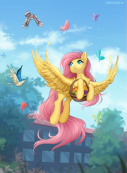 Size: 1031x1400 | Tagged: safe, artist:margony, fluttershy, bird, butterfly, pegasus, pony, basket, chest fluff, cute, ear fluff, female, flying, fruit, head turn, holding, looking at something, looking up, mare, outdoors, shyabetes, sky, smiling, solo, spread wings, tree, wings