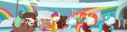 Size: 2821x720 | Tagged: safe, edit, screencap, lighthoof, ocellus, shimmy shake, smolder, yona, changedling, changeling, dragon, earth pony, pony, yak, 2 4 6 greaaat, blindfold, female, panorama, school of friendship
