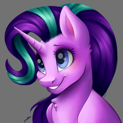 Size: 4093x4093 | Tagged: safe, artist:faline-art, starlight glimmer, pony, unicorn, absurd resolution, chest fluff, cute, female, glimmerbetes, gray background, mare, signature, simple background, smiling, solo