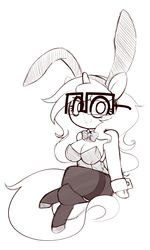 Size: 1800x3000 | Tagged: artist:fullmetalpikmin, bowtie, breasts, bunny ears, bunny suit, chestbreasts, clothes, cuffs (clothes), female, glasses, milf, oc, oc:insatiable void, oc only, pantyhose, pony, safe, solo, unicorn