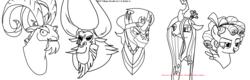 Size: 2504x806 | Tagged: safe, artist:nukarulesthehouse1, cozy glow, grogar, king sombra, lord tirek, queen chrysalis, centaur, changeling, changeling queen, pegasus, pony, unicorn, antagonist, bust, female, lineart, monochrome, no color, portrait, ram