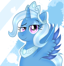 Size: 2048x2090 | Tagged: safe, artist:doraeartdreams-aspy, trixie, alicorn, pony, idw, reflections, spoiler:comic, alicornified, crown, dark mirror universe, equestria-3, gameloft, jewelry, mirror universe, princess of humility, race swap, regalia, trixiecorn