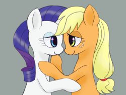 Size: 2448x1852 | Tagged: safe, artist:haibaratomoe, applejack, rarity, pony, cute, female, lesbian, looking at each other, mare, rarijack, shipping, smiling