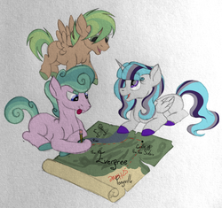 Size: 2500x2347 | Tagged: safe, artist:thr3eguess3s, oc, oc only, oc:phantomwise, oc:summer pine, oc:tropical oasis, alicorn, earth pony, ghost, pegasus, pony, blank flank, colored pupils, colt, female, filly, magical lesbian spawn, male, map, mixed media, offspring, parent:fluttershy, parent:rarity, parent:trixie, parent:twilight sparkle, parents:flarity, parents:twixie, story included, tongue out