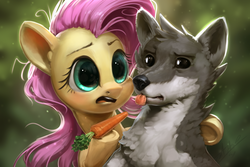 Size: 1080x720 | Tagged: artist:assasinmonkey, carrot, cute, do not want, female, fluttershy, food, hoof hold, mare, pony, safe, sandra, she talks to angel, shyabetes, spoiler:s09e18, tongue out, wolf