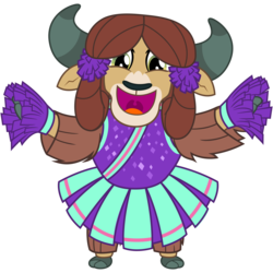 Size: 3200x3200 | Tagged: safe, artist:cheezedoodle96, yona, yak, 2 4 6 greaaat, .svg available, bipedal, cheering, cheerleader, cheerleader outfit, cheerleader yona, clothes, cloven hooves, cute, female, horns, looking at you, monkey swings, open mouth, pleated skirt, pom pom, simple background, skirt, smiling, solo, svg, teenager, transparent background, uvula, vector, yonadorable